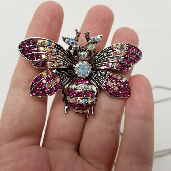 NWT Betsey Johnson Pink Bee Necklace & Brooch